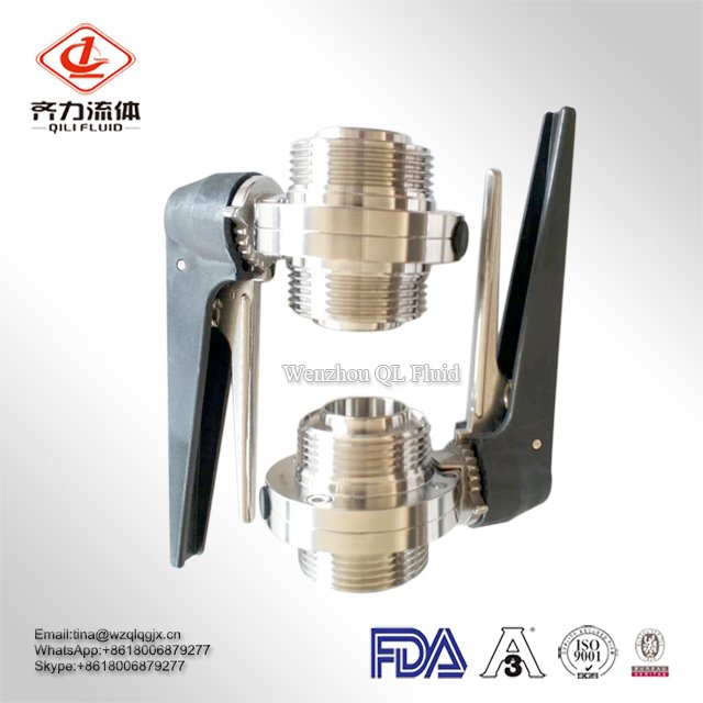 Sanitary food grade SS304 SS316L SMS/DIN/3A/RJT standard threaded/male butterfly valve