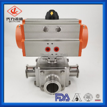 SS304 SS316L Food Grade 3 Way Pneumatic T Or L Type Ball Valves
