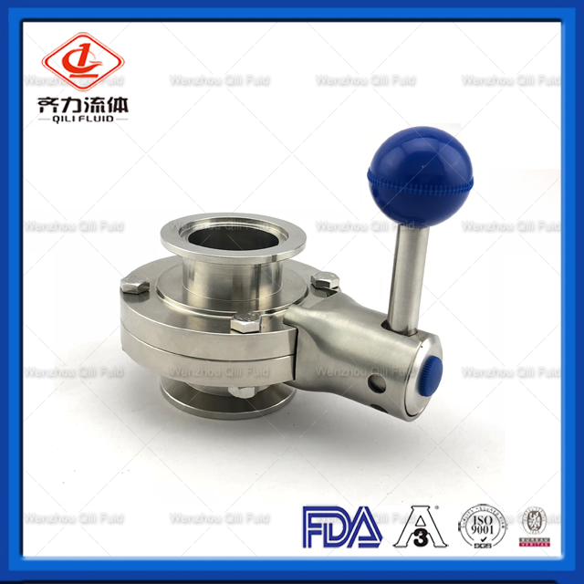 Sanitary Stainless Steel Butterfly Valve with Kf End