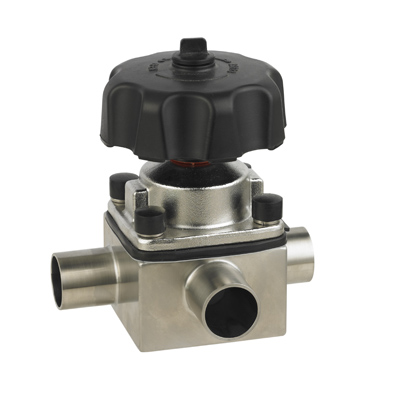 Sanitary Stainless Steel Three Way Manual Welded Diaphragm Valve
