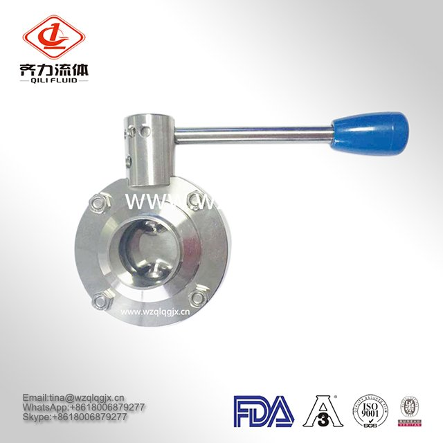 Factory Provide SS304/316 Sanitary Stainless Steel Weld Low Price Butterfly Valves with Handle