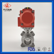 Sanitray Tri Clamp Connection 3-Piece Pneumatic Ball Valve PTFE Seal