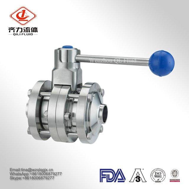 Sanitary Stainless Steel 304/316L Butterfly Tee Valves Pneumatic Valve