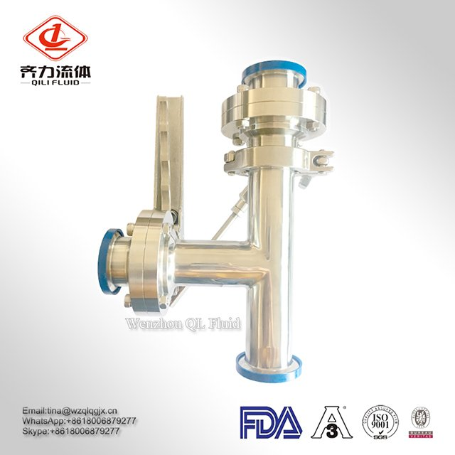 SS304/304L/316/316L Sanitary Butterfly Valves with Handle Connect Tee Butterfly Valve Three-Way Combination