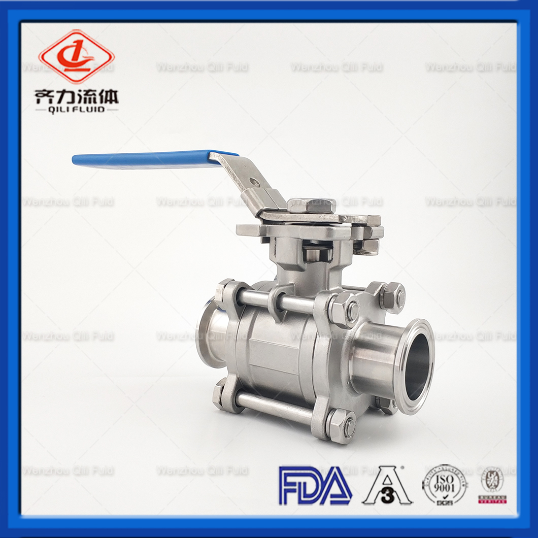 Stainless Steel Two Way Sanitary Encapsulated Cavity Filled Clamp End Ball Valve Control Medium Flow Used in Food & Beverage Processing
